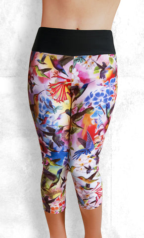 Capri Leggings - Humming Birds (#1007)