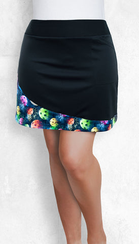Pickleball Straight Skort - Black with Multicolor Accent Panel