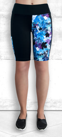 Training Shorts -Blue and Pink Maple Leaves