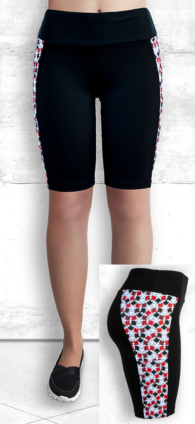 "9"" Shorts with Red and Black Maple Leaves"