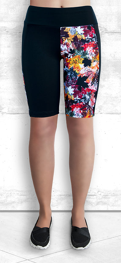 "9"" Shorts with Autumn Maple Leaves Print"
