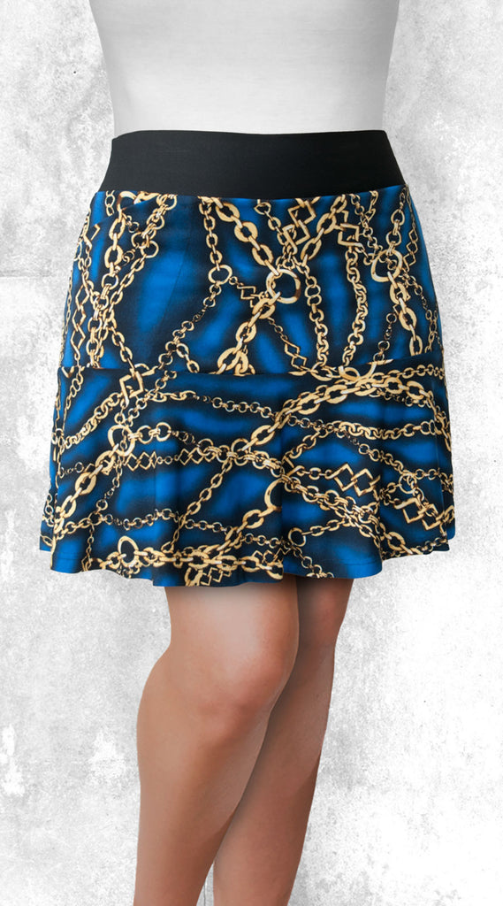 Flounce Skort - Gold chains on Royal Blue
