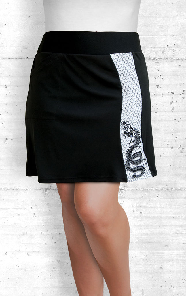 Skort with Small B&W Dragon Panel