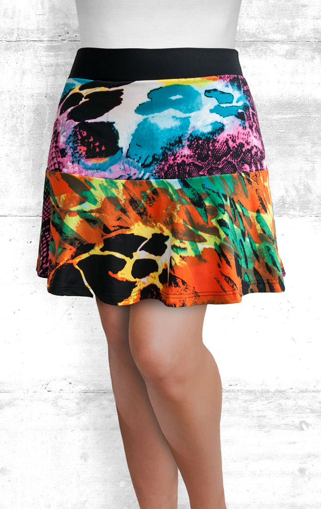 Skort - Multi-Color Abstract Print