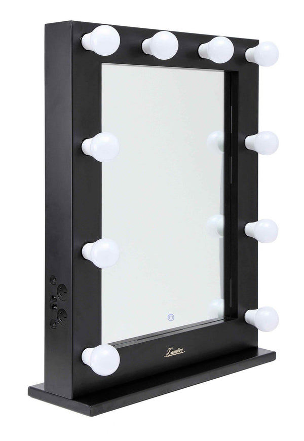 Satin Black Lighted Hollywood Vanity Makeup Mirror