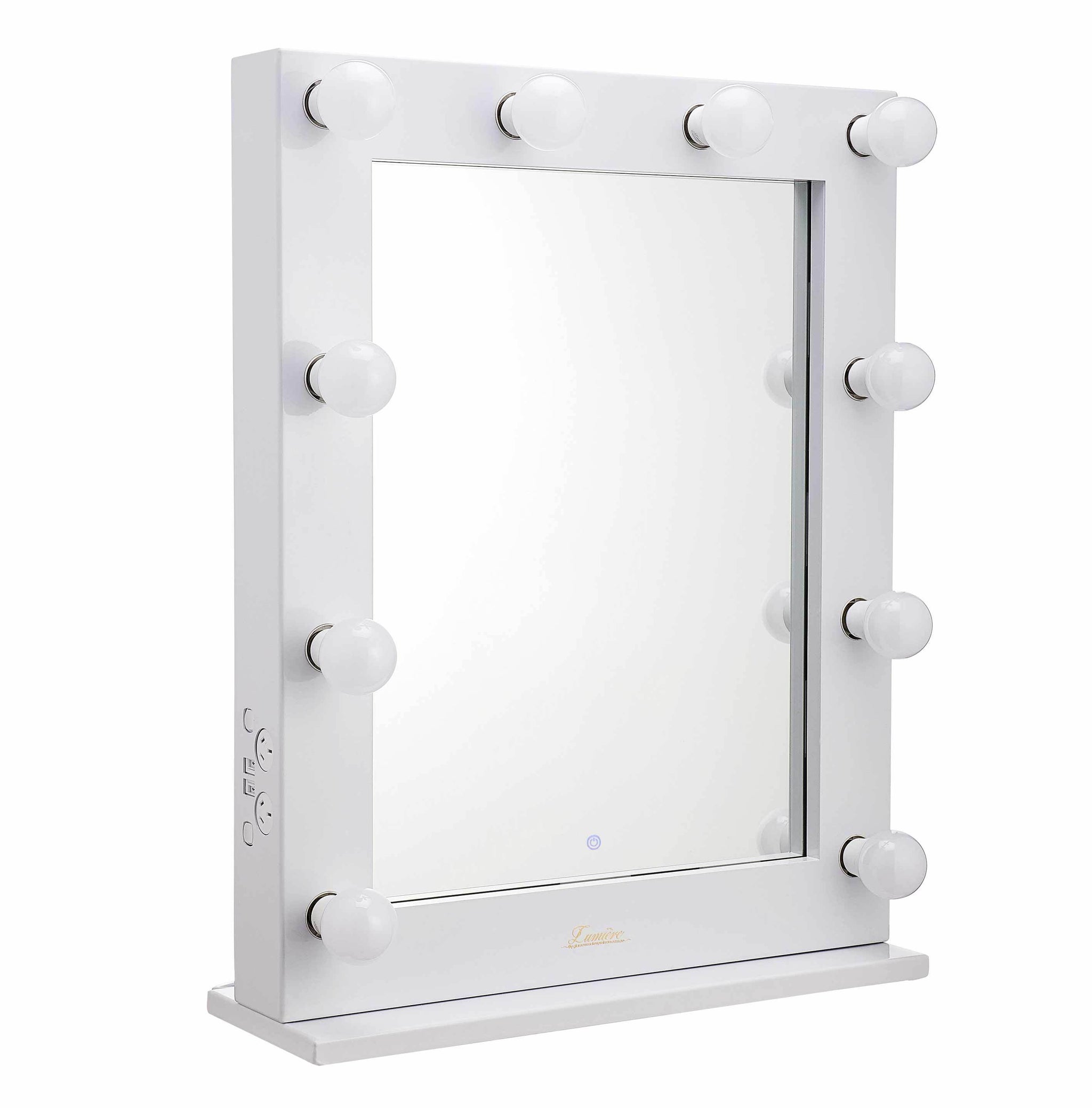 Lighted Makeup Mirror.The Alessandra Glossy White Glamour Makeup Mirror
