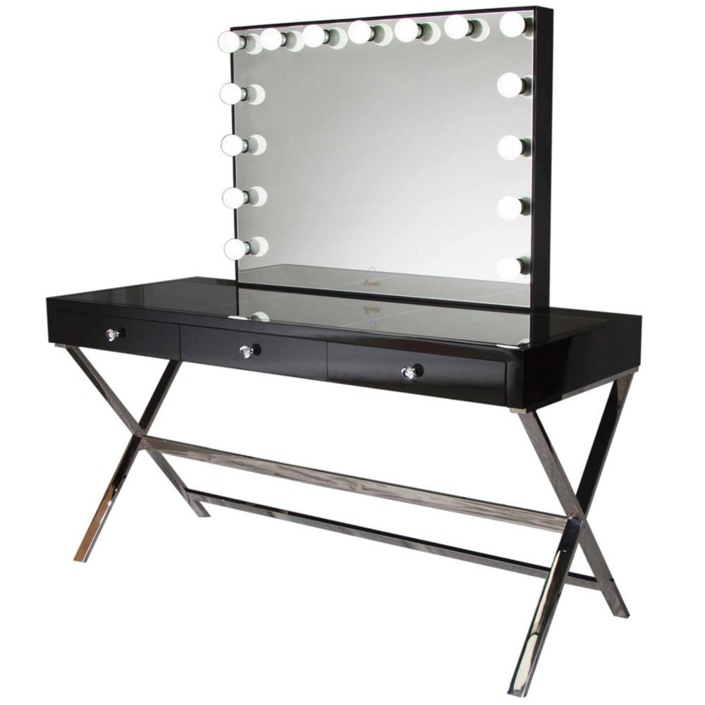 Glamour vanity makeup table glamour makeup mirrors black for Table lipstick