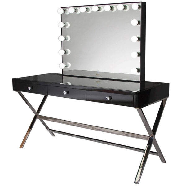 Glamster Vanity Makeup Table - Black - Glamour Makeup Mirrors 2