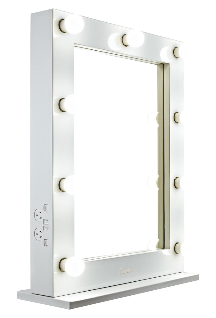 Glossy White Lighted Vanity Mirror Glamour Makeup