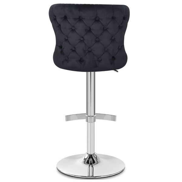 Isabel Buttoned Velvet Stool - Black | Chairs & Stools | Glamour Makeup Mirrors
