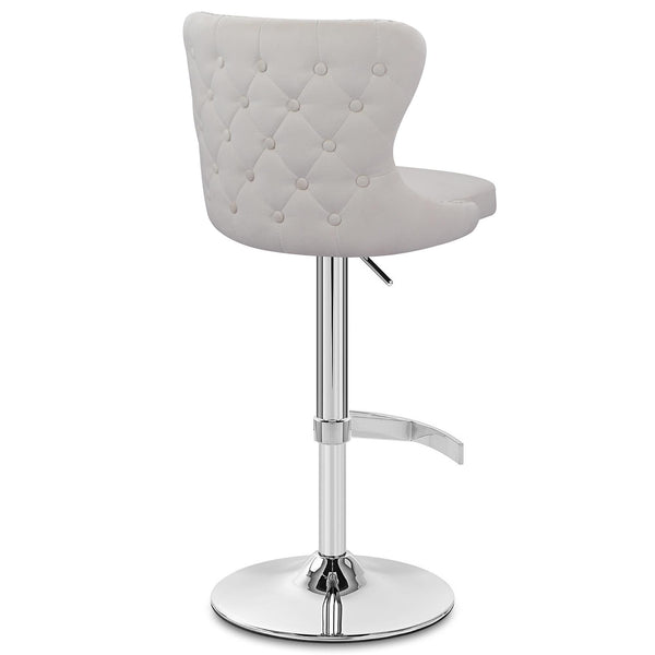 Isabel Buttoned Velvet Stool - Ivory | Chairs & Stools | Glamour Makeup Mirrors