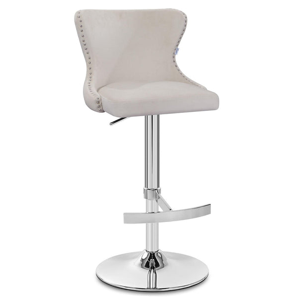 Isabel Buttoned Velvet Stool - Ivory (Ex Display)