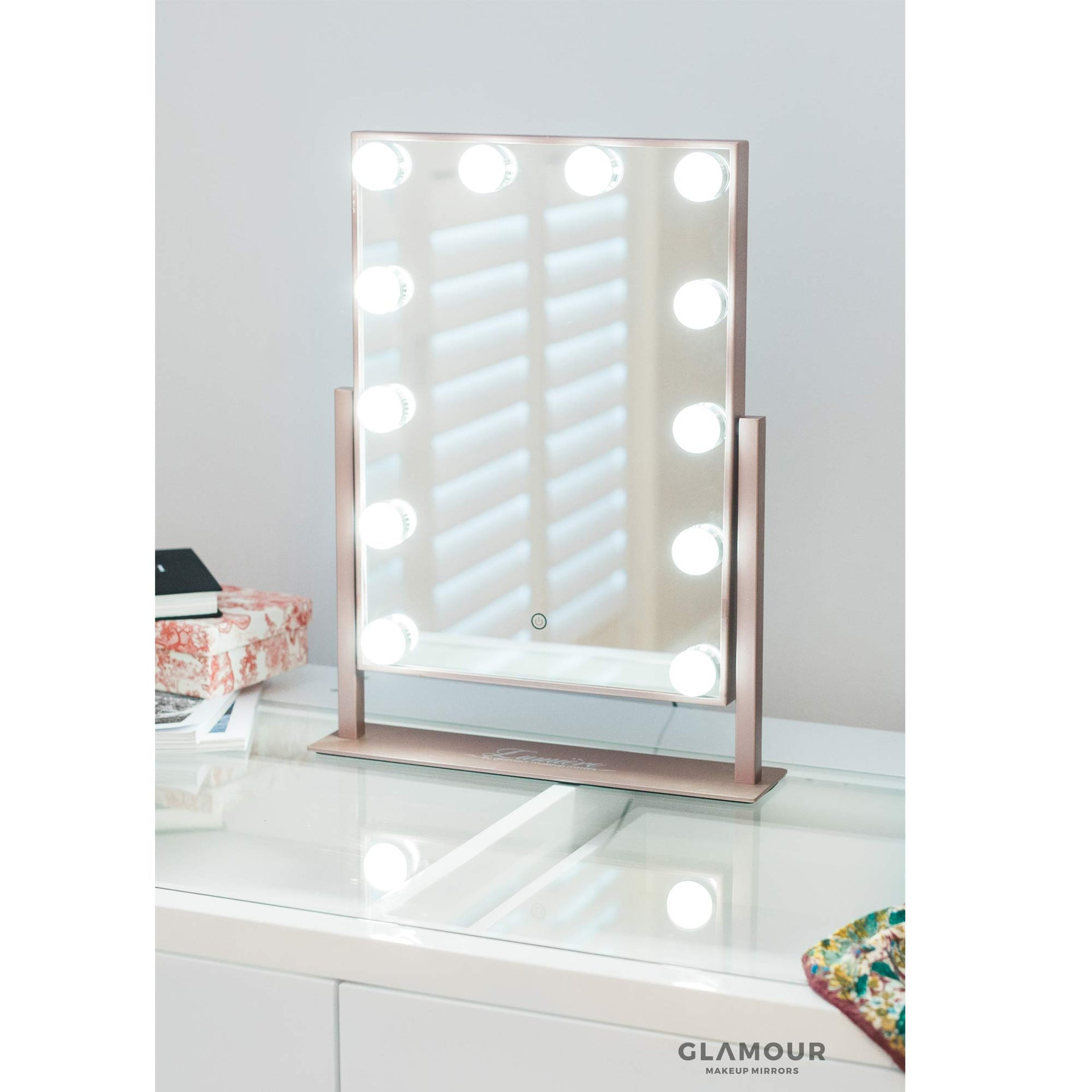 Lucia - LED Mirror - Rose Gold