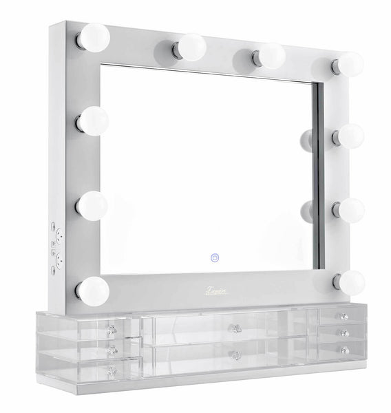 The Valentina - LED Makeup Mirror - Gloss White - Glamour Makeup Mirrors