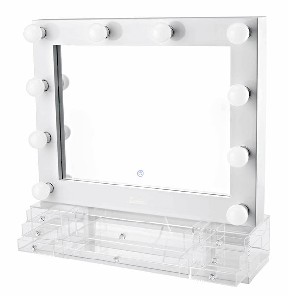 The Valentina - LED Makeup Mirror - Gloss White - Glamour Makeup Mirrors 4