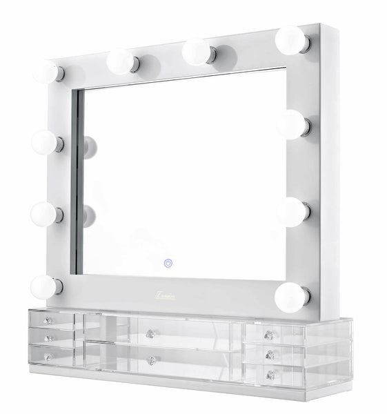 The Valentina - LED Makeup Mirror - Gloss White - Glamour Makeup Mirrors 2