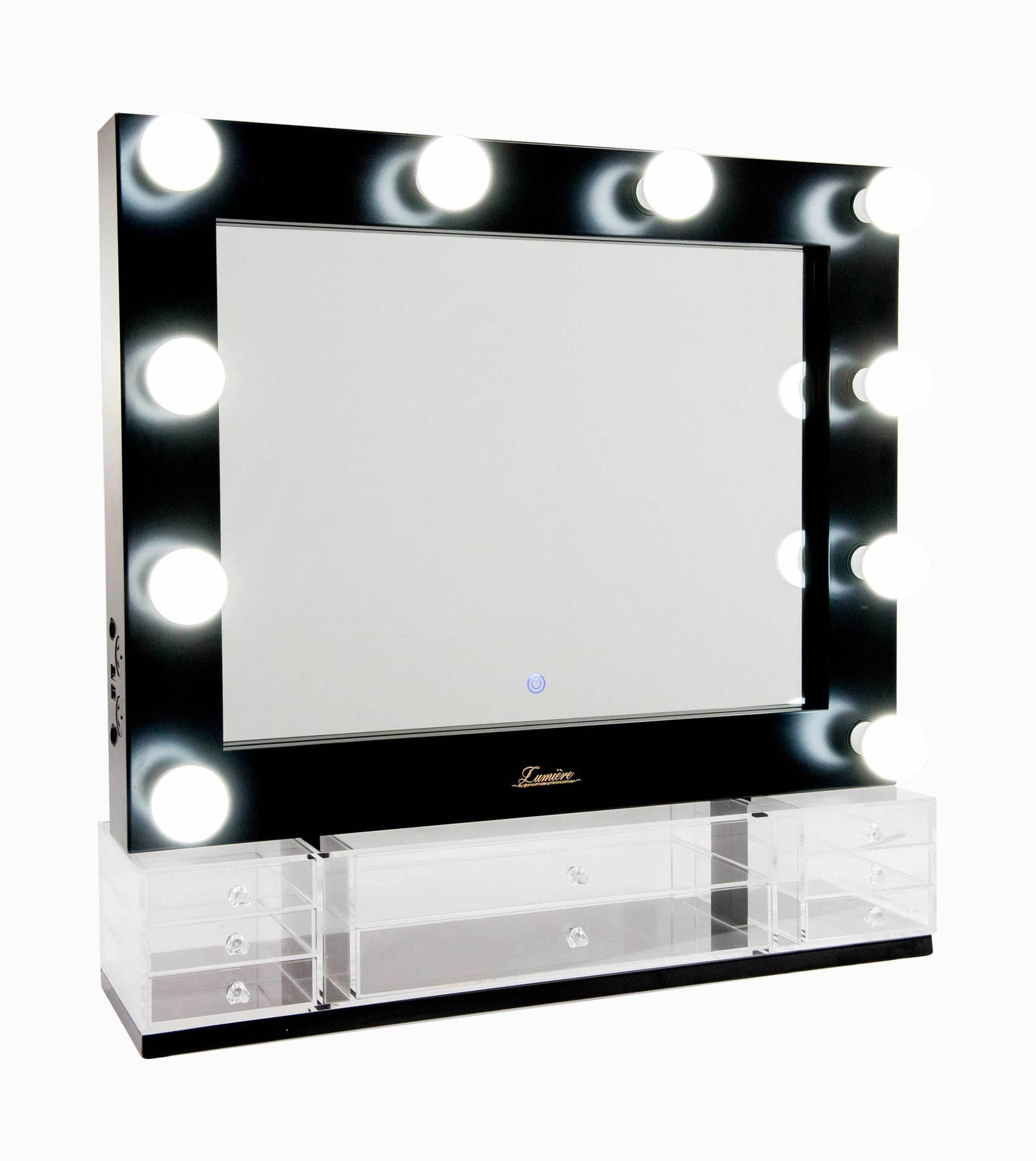 The Valentina - LED Makeup Mirror - Satin Black - Glamour Makeup Mirrors