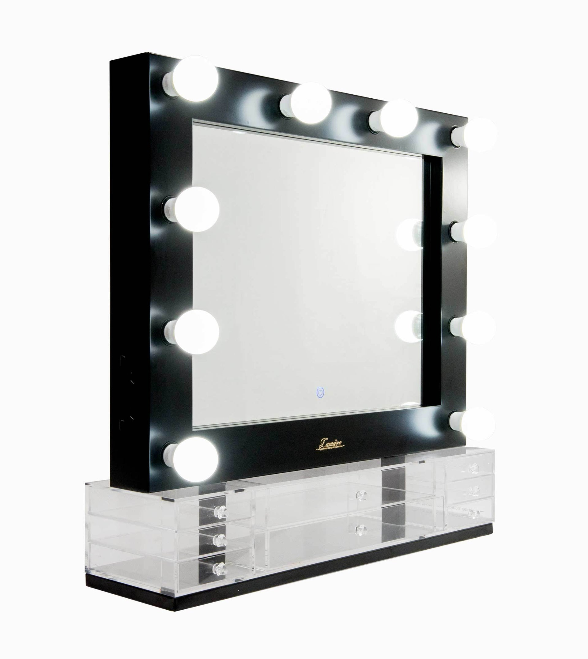 The Valentina - LED Makeup Mirror - Satin Black - Glamour Makeup Mirrors 2