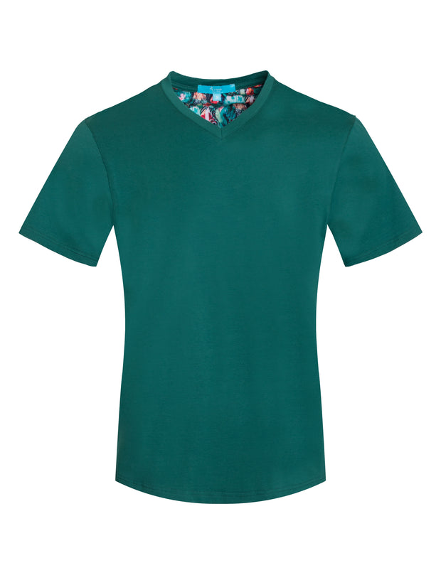 1020-A Green V-Neck Everyday Tee