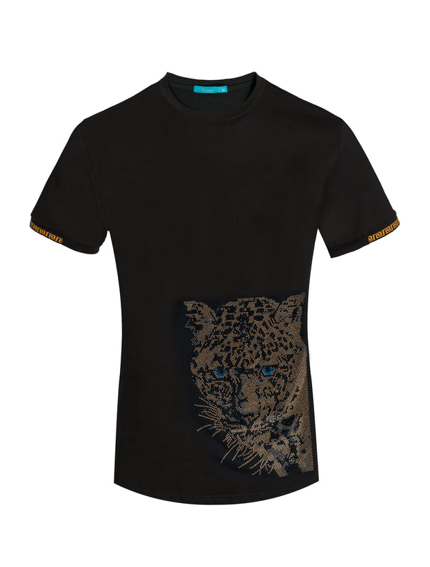 1028 Black T-Shirt with Crystal Tiger Motif