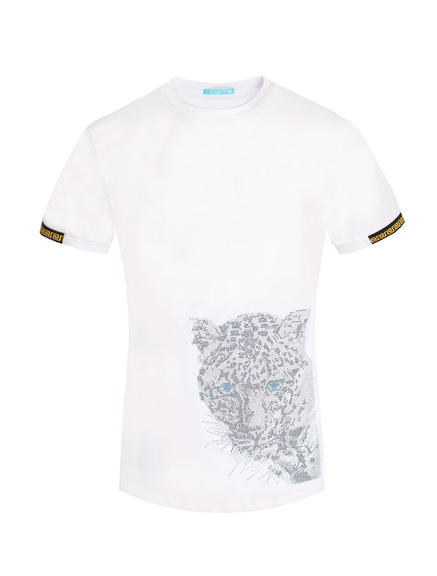 1028 White T-Shirt with Crystal Tiger Motif
