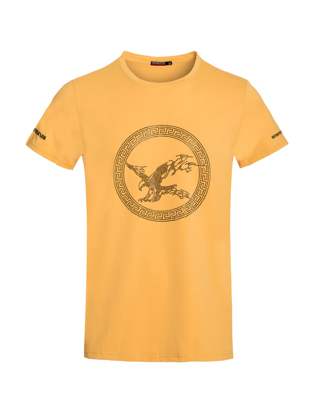 1030 Gold T-Shirt with Rhinestone Eagle Motif