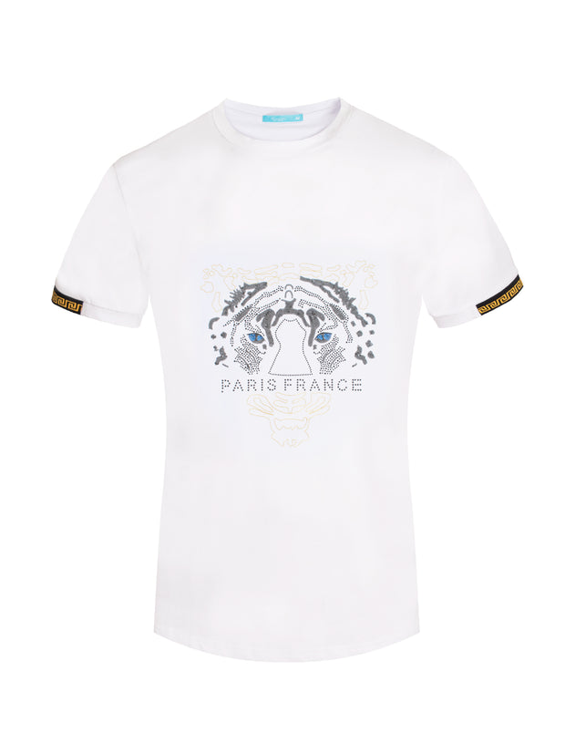 1030 White T-Shirt with Crystal Tiger Motif