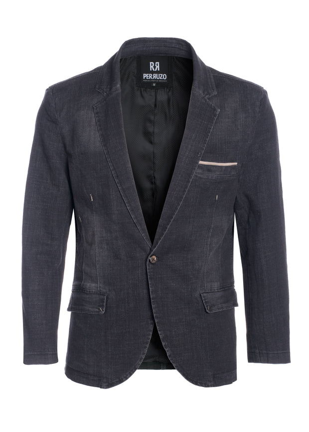 Men's Washed Denim Black Blazer (1340)