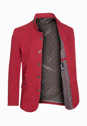 Burgundy Tunic Collar Blazer (1347)