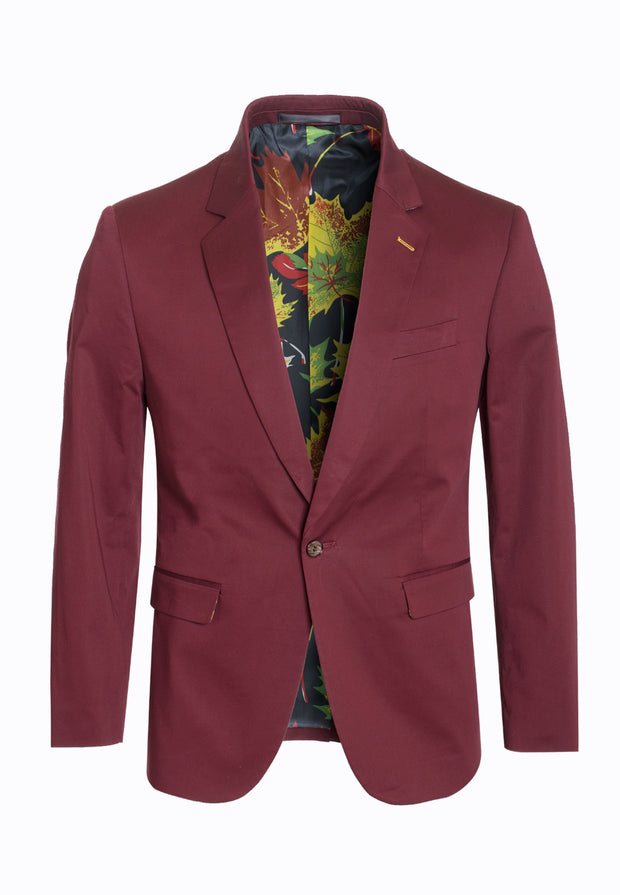 men's Burgundy Cotton-Stretch Fashion Blazer