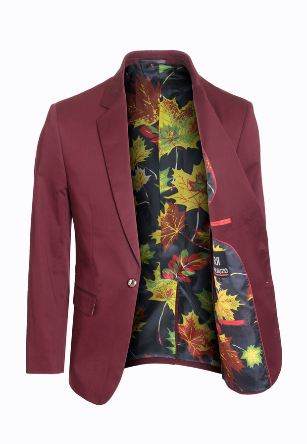 Burgundy Cotton-Stretch Fashion Blazer (1720)