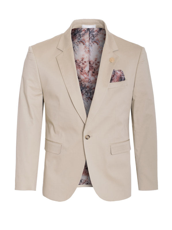 Khaki Cotton-Stretch Satin Fashion Blazer (1720)