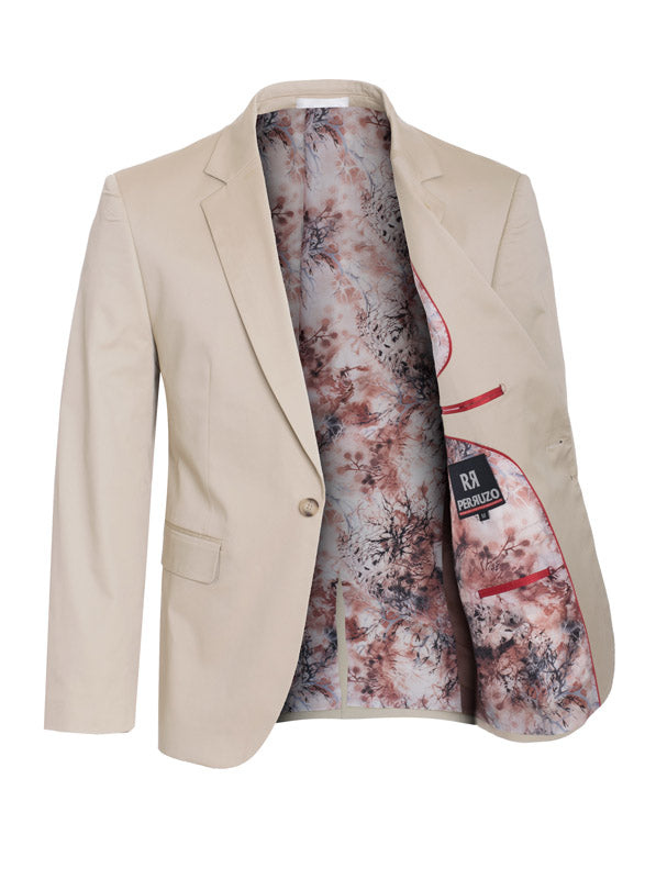 Men's Khaki Cotton-Stretch Satin Fashion Blazer