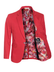 Men's Red Cotton-Stretch Fashion Blazer