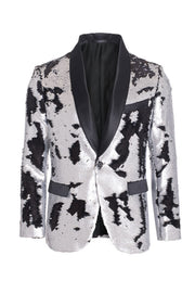 Men's Silver/Black Sequin Blazer