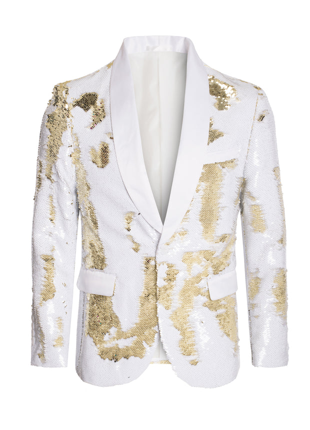 White/Gold Sequin Blazer (1778) COMING SOON!