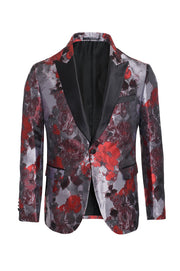 Men's Burgundy Floral Blazer