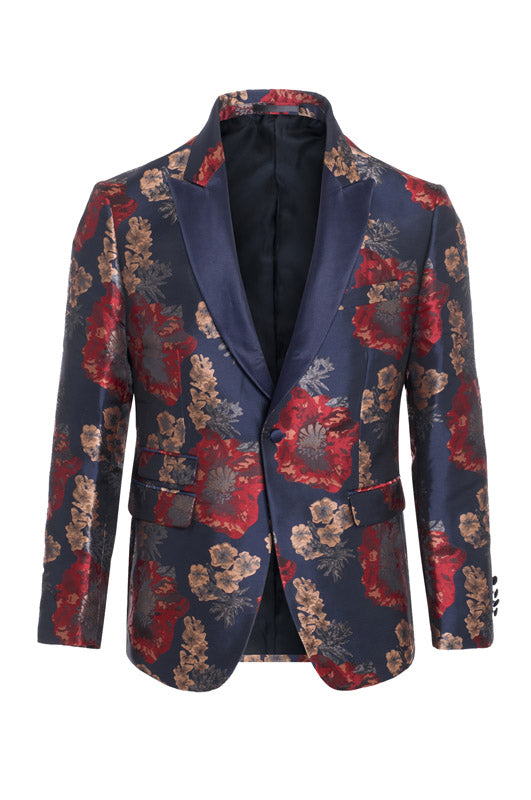 Men's Navy Floral Blazer