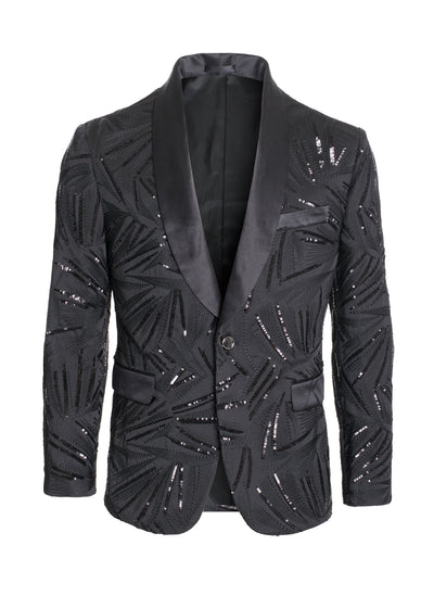 Men's Black Design Sequin Blazer