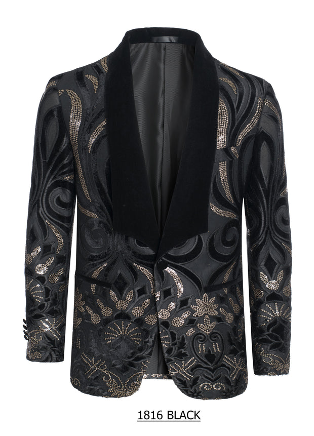 S-26 Black Blazer with Velvet and gold sequin detail