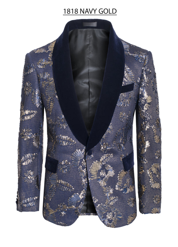 Men's Navy/Gold Floral Detail Blazer