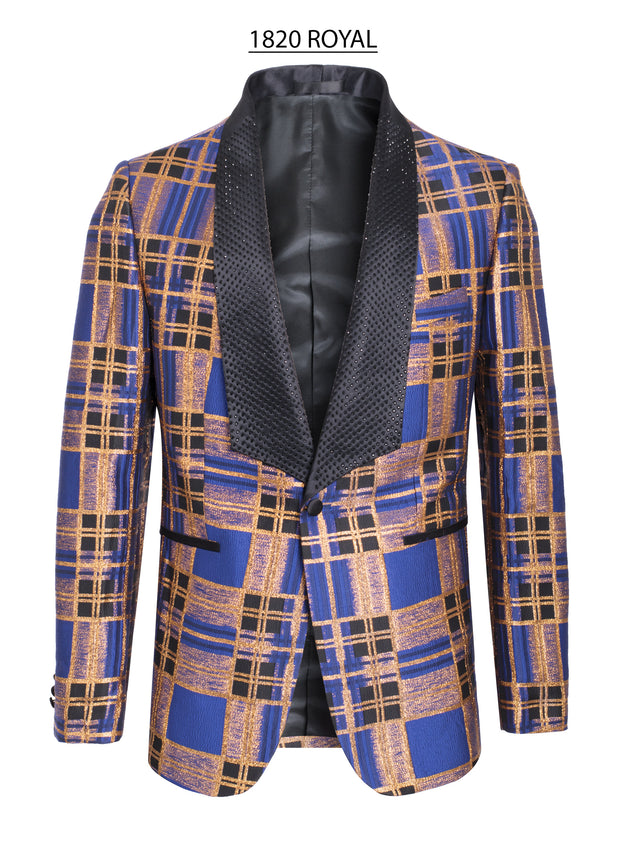 Abstract Design with Vibrant Royal blue and Gold Blazer