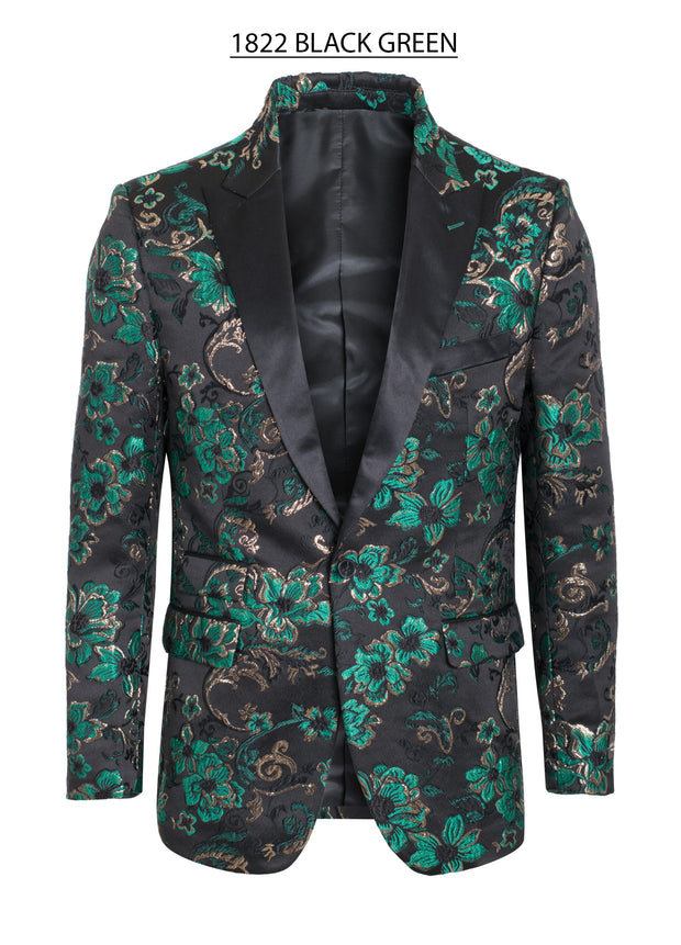 Black Blazer with Green Floral Design Men's clothing