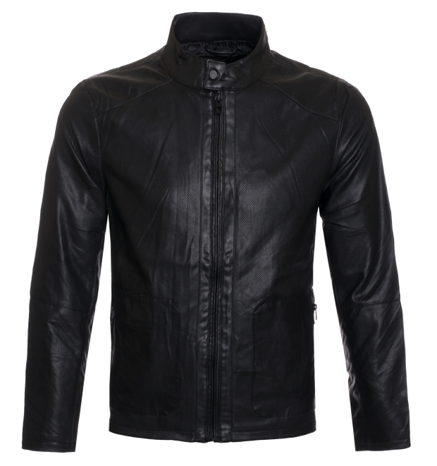 Black Faux Leather Jacket (1823)