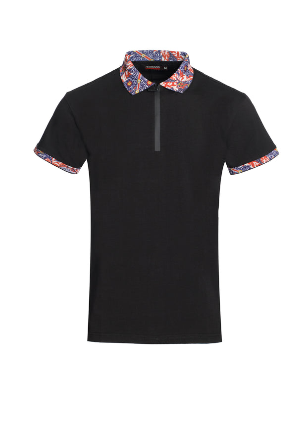 Men's Polo Shirt Floral Contrast
