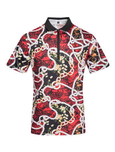 Red Polo with Chain Print S108