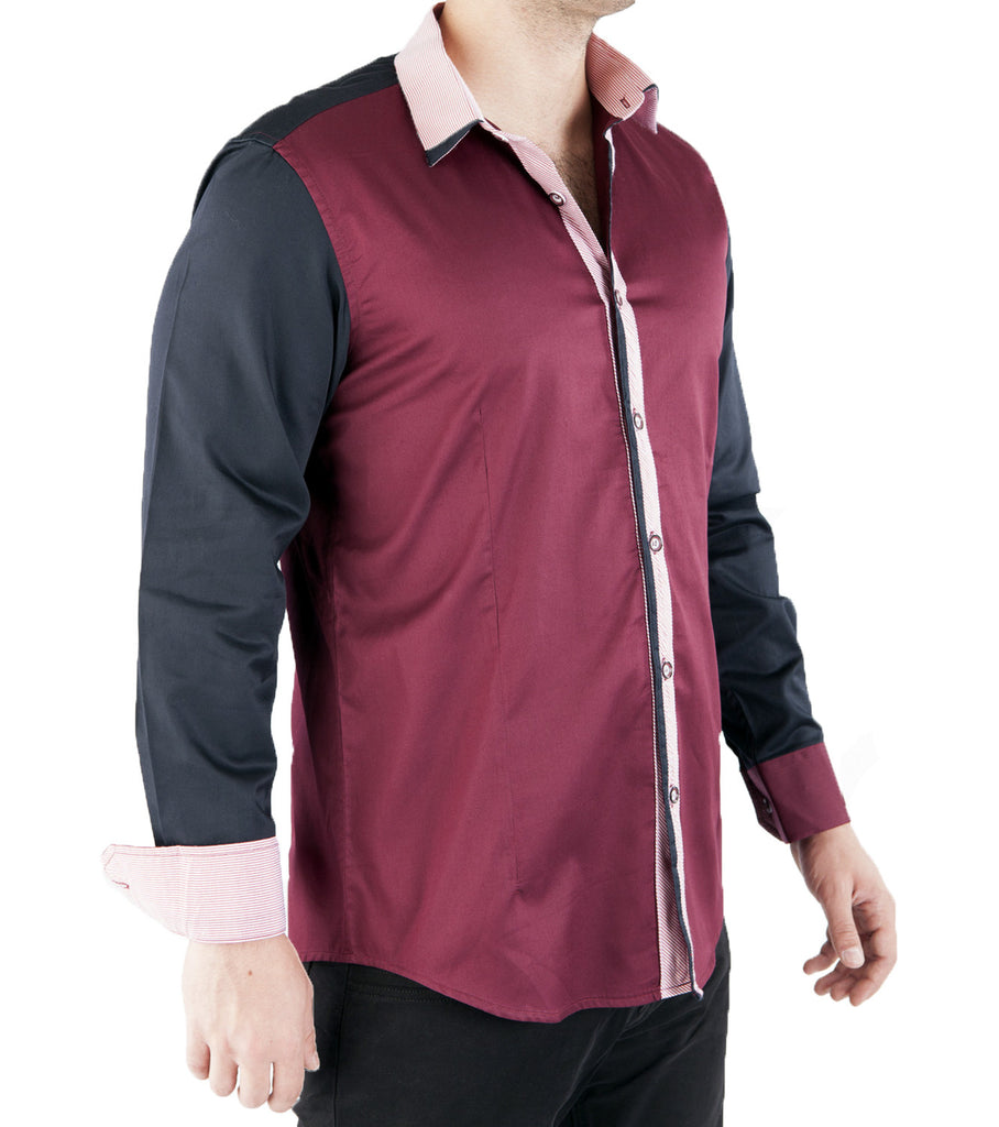 Two Tone Shirt // 3007L Burgundy