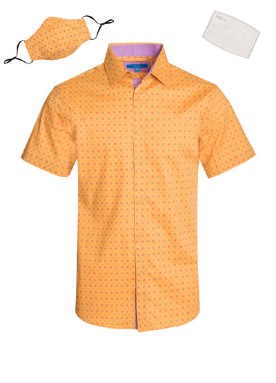 3043 Mustard Paisley Cotton S/S Shirt with Matching Mask