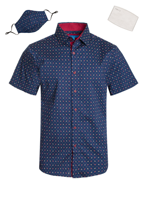 3043 Navy Paisley Cotton S/S Shirt with Matching Mask