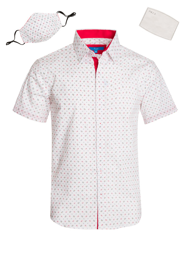 3043 White Paisley Cotton S/S Shirt with Matching Mask
